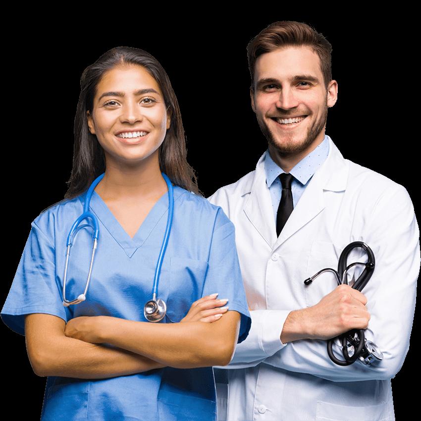 Médecins internes souriants